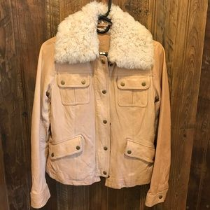 Banana Republic Sherpa collar tan leather jacket